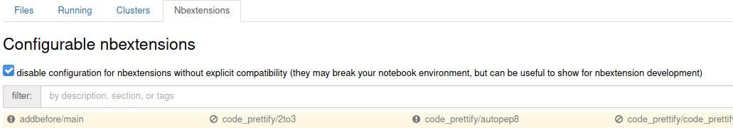 Меню со списком расширений в Jupyter Notebook