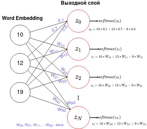 Каждый нейрон из полученного вектора word embedding соединяется с каждым нейроном выходного слоя